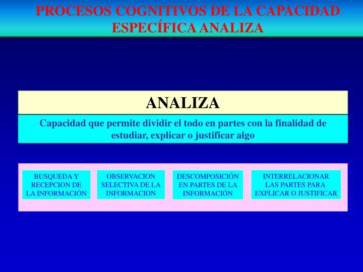 PROCESOS COGNITIVOS DE LA CAPACIDAD ESPECÍFICA ANALIZA
