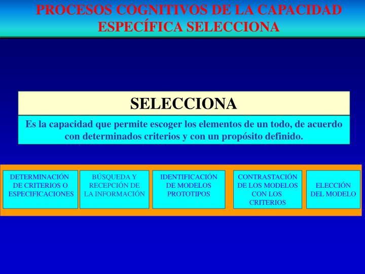 PROCESOS COGNITIVOS DE LA CAPACIDAD ESPECÍFICA SELECCIONA