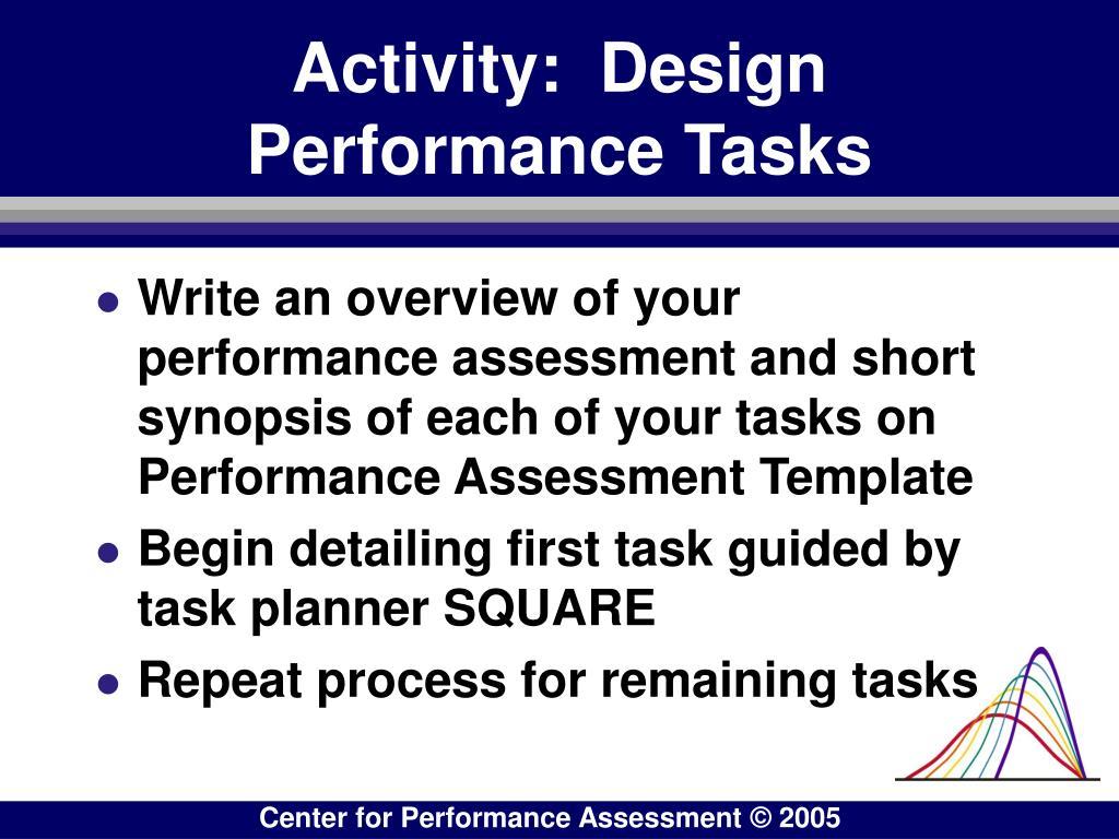 Activity:  Design Performance Tasks