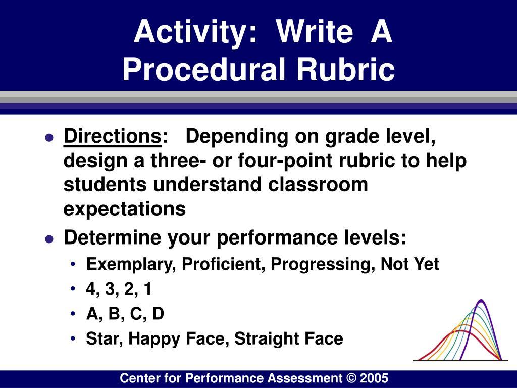 Activity:  Write  A Procedural Rubric