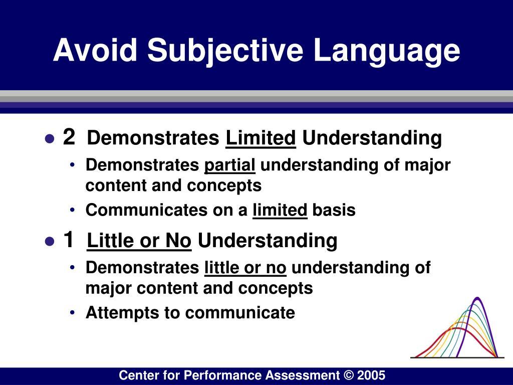 Avoid Subjective Language