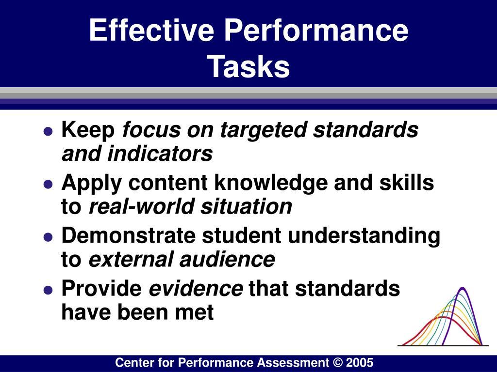 Effective Performance Tasks