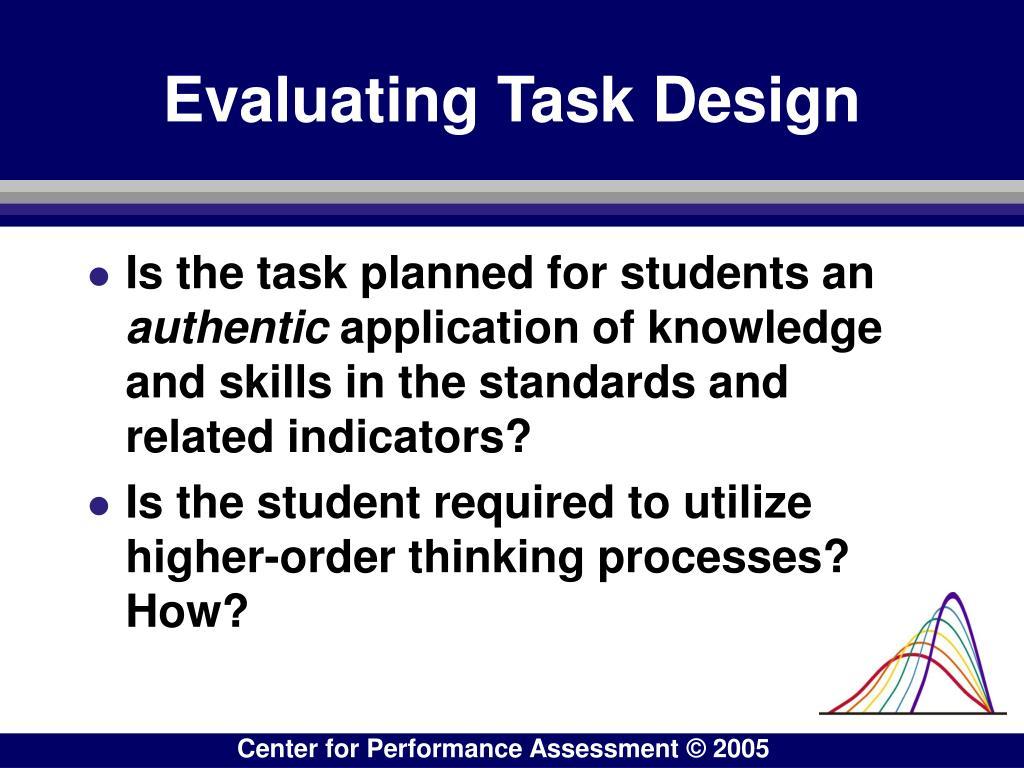 Evaluating Task Design
