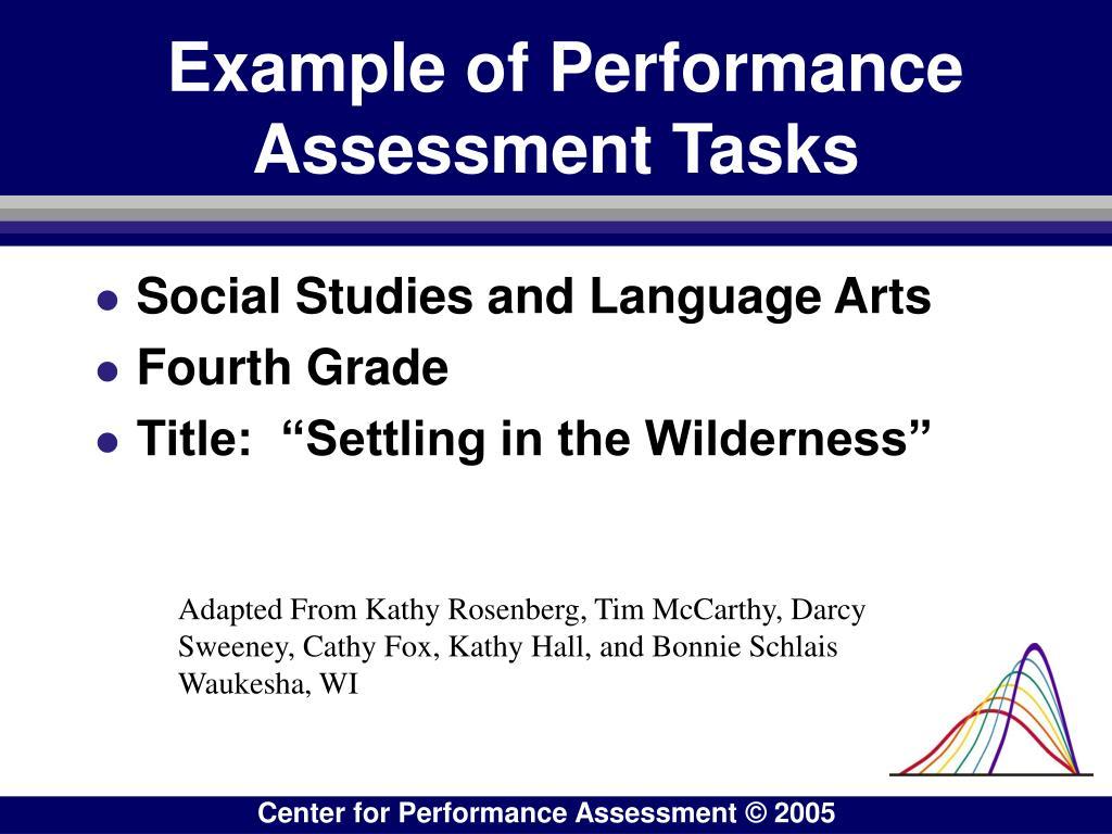 Example of Performance Assessment Tasks