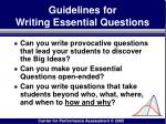 guidelines for writing essential questions