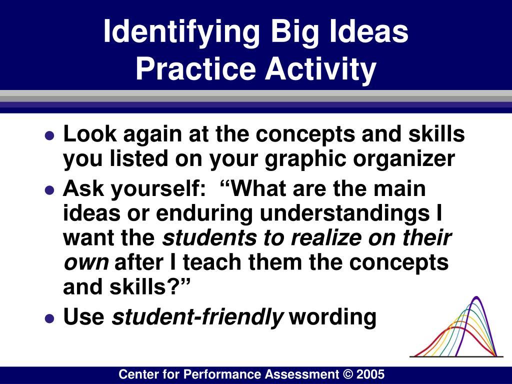 Identifying Big Ideas      Practice Activity