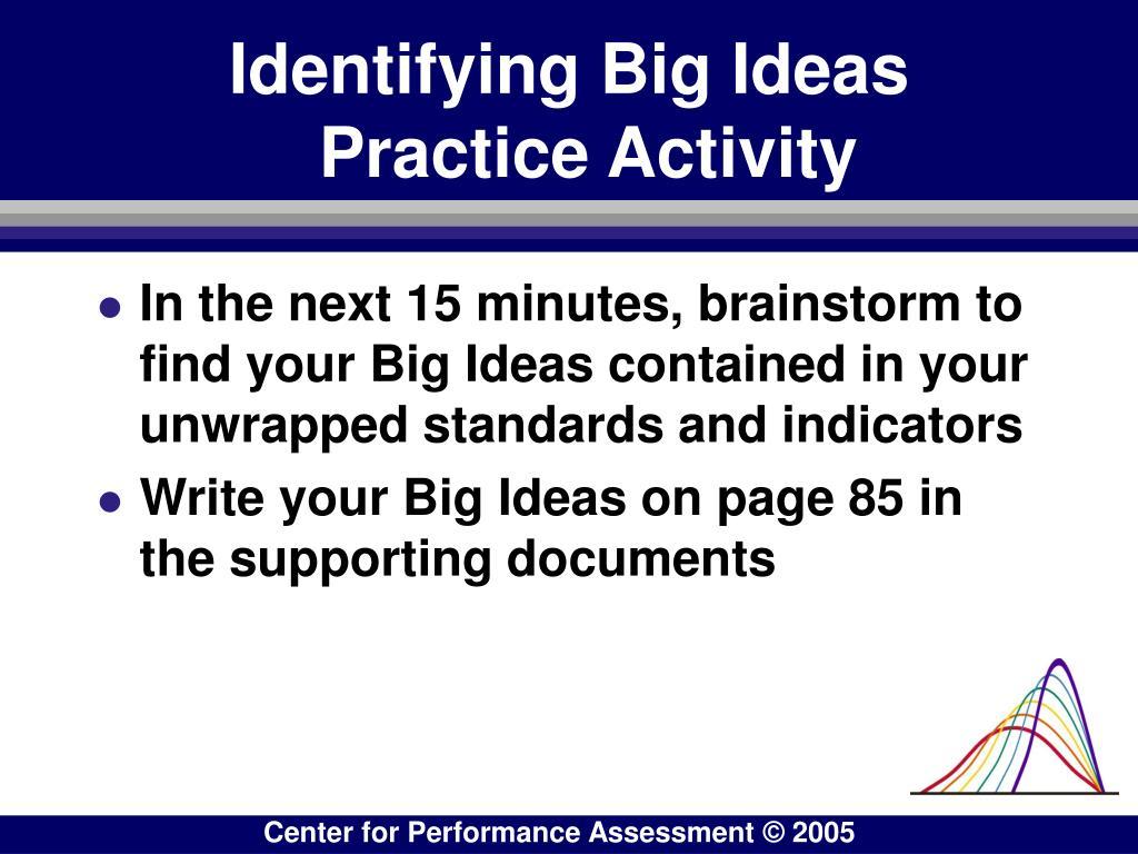 Identifying Big Ideas