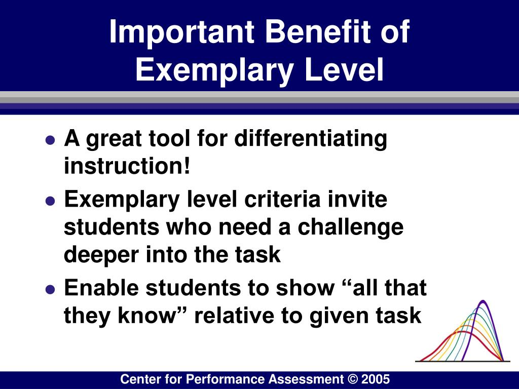 Important Benefit of Exemplary Level