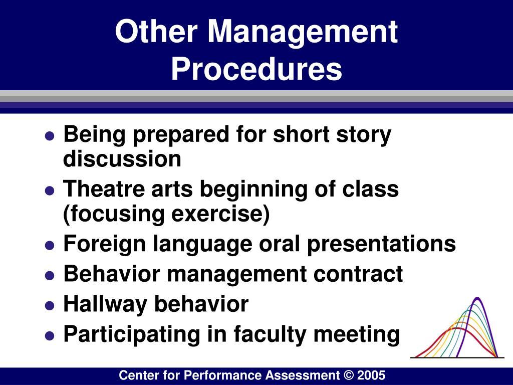 Other Management Procedures
