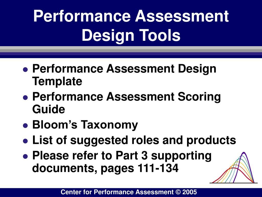 Performance Assessment Design Tools