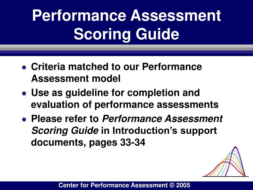 Performance Assessment Scoring Guide