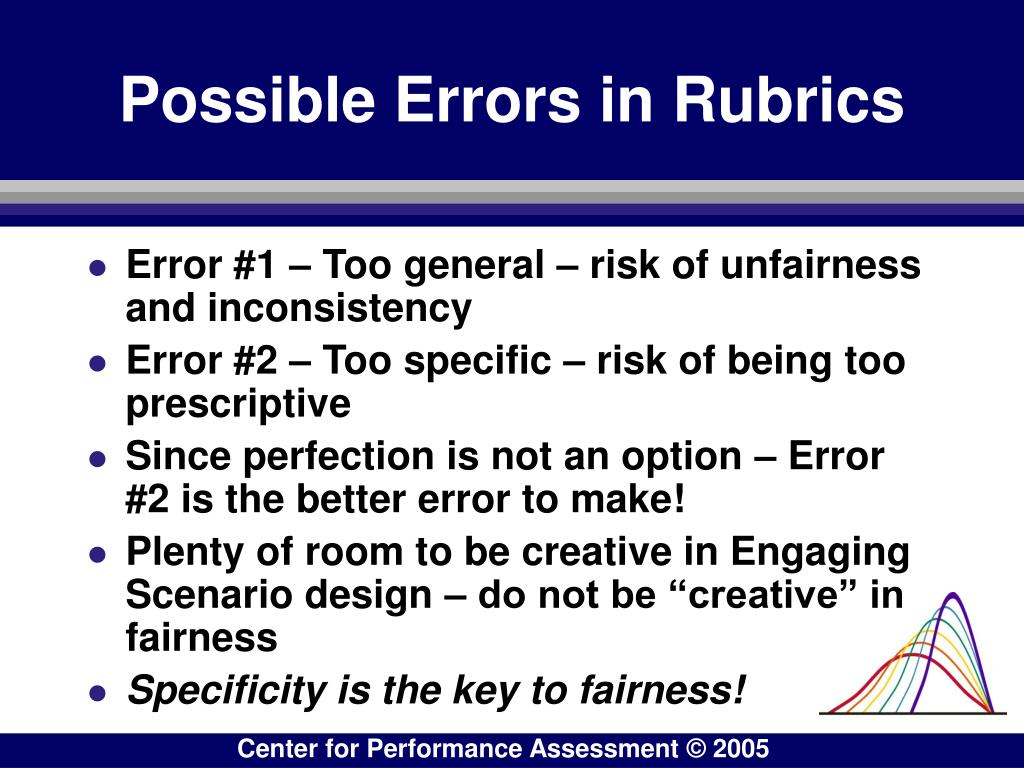 Possible Errors in Rubrics