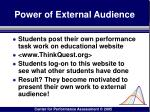 power of external audience