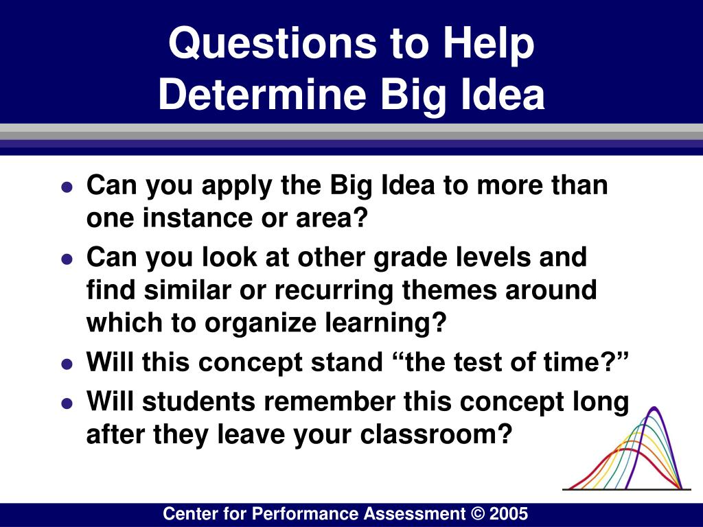 Questions to Help Determine Big Idea