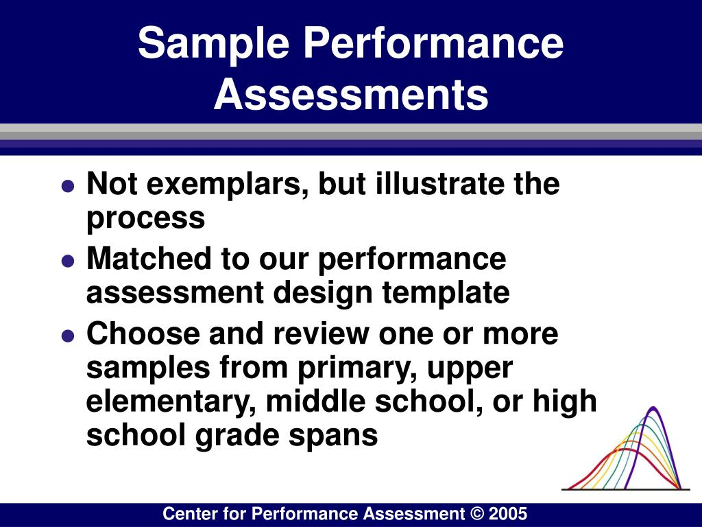 Sample Performance Assessments