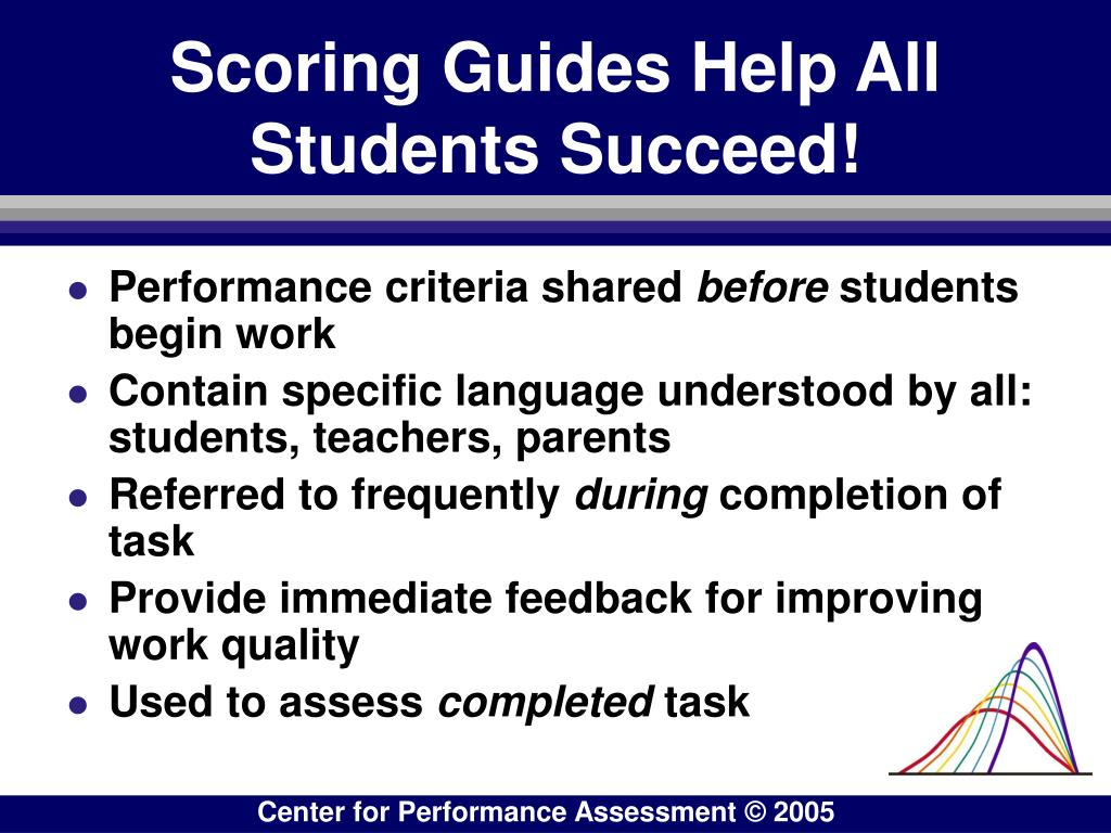 Scoring Guides Help All Students Succeed!