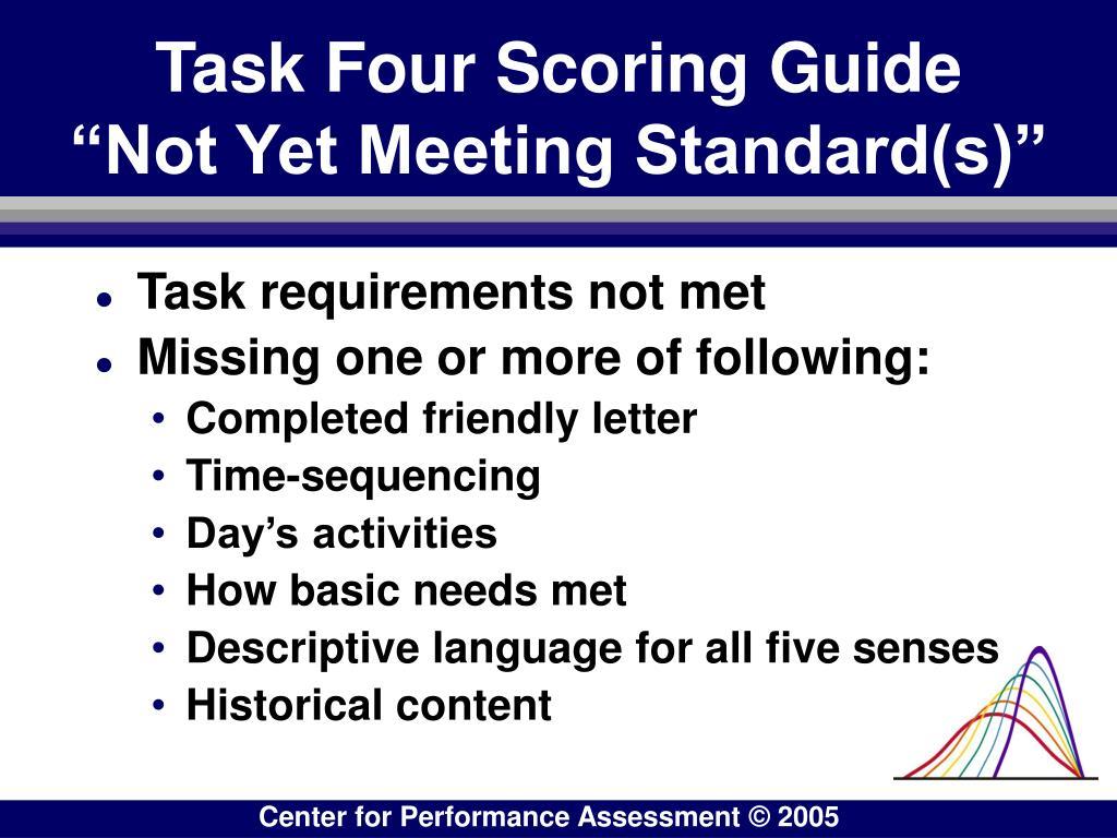 "Task Four Scoring Guide     ""Not Yet Meeting Standard(s)"""