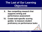 the last of our learning objectives