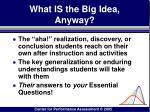 what is the big idea anyway