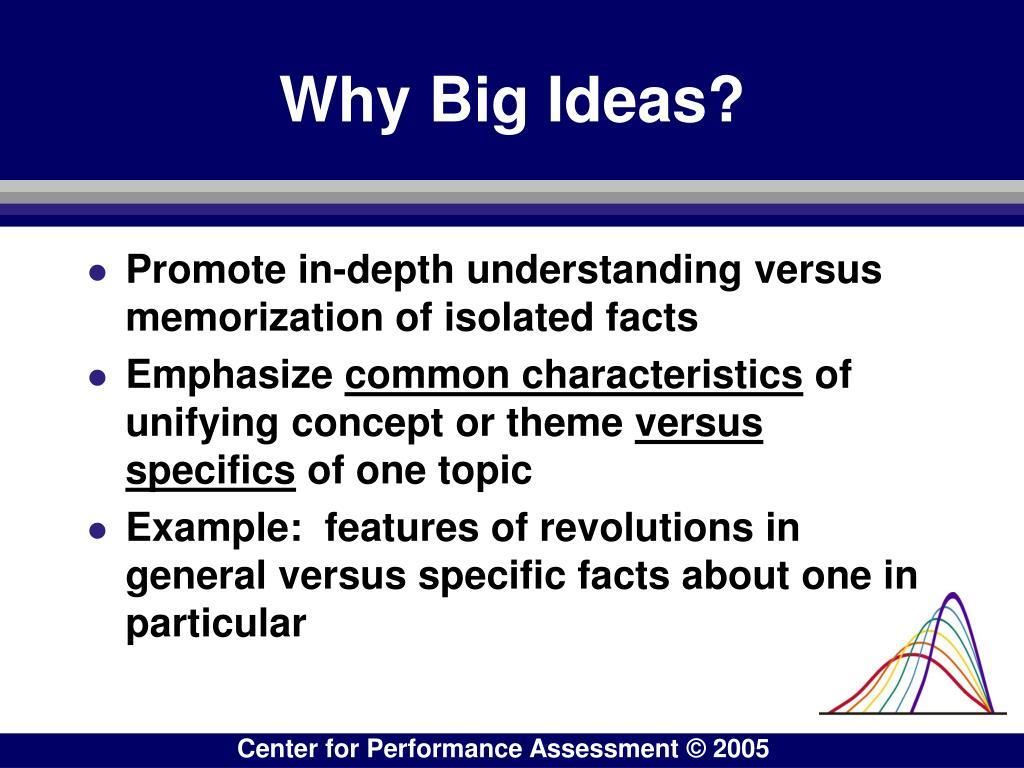 Why Big Ideas?