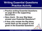 writing essential questions practice activity