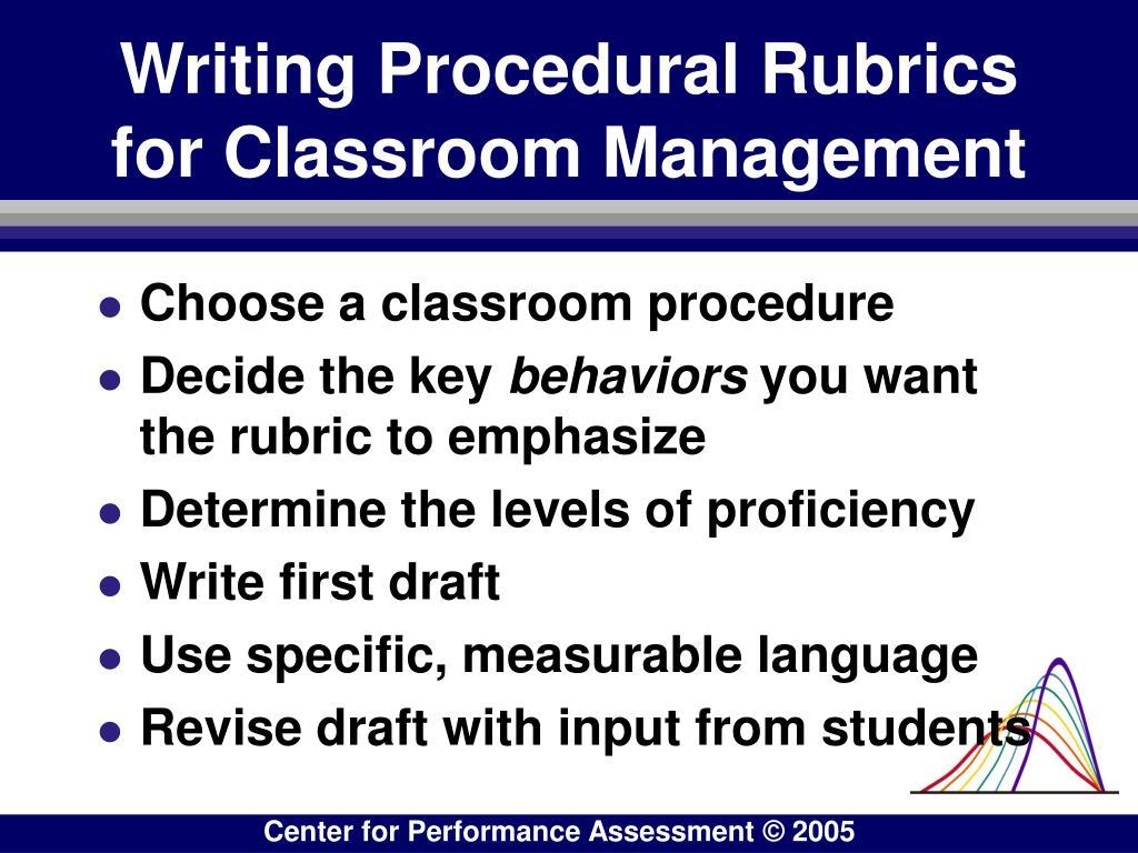 Writing Procedural Rubrics for Classroom Management