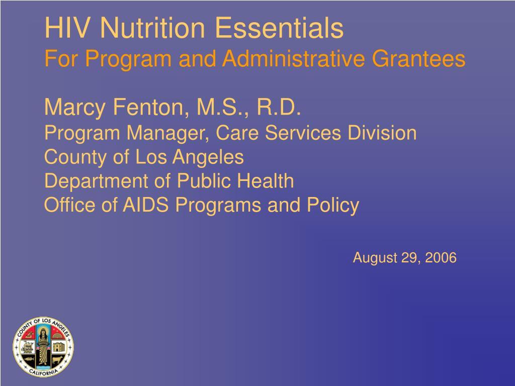 hiv nutrition essentials for program and administrative grantees