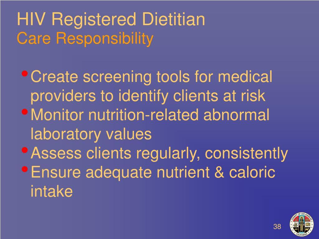 HIV Registered Dietitian