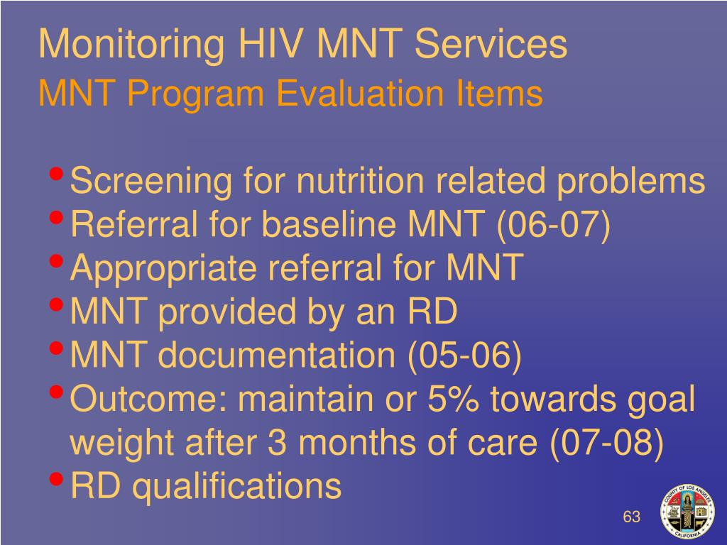 Monitoring HIV MNT Services