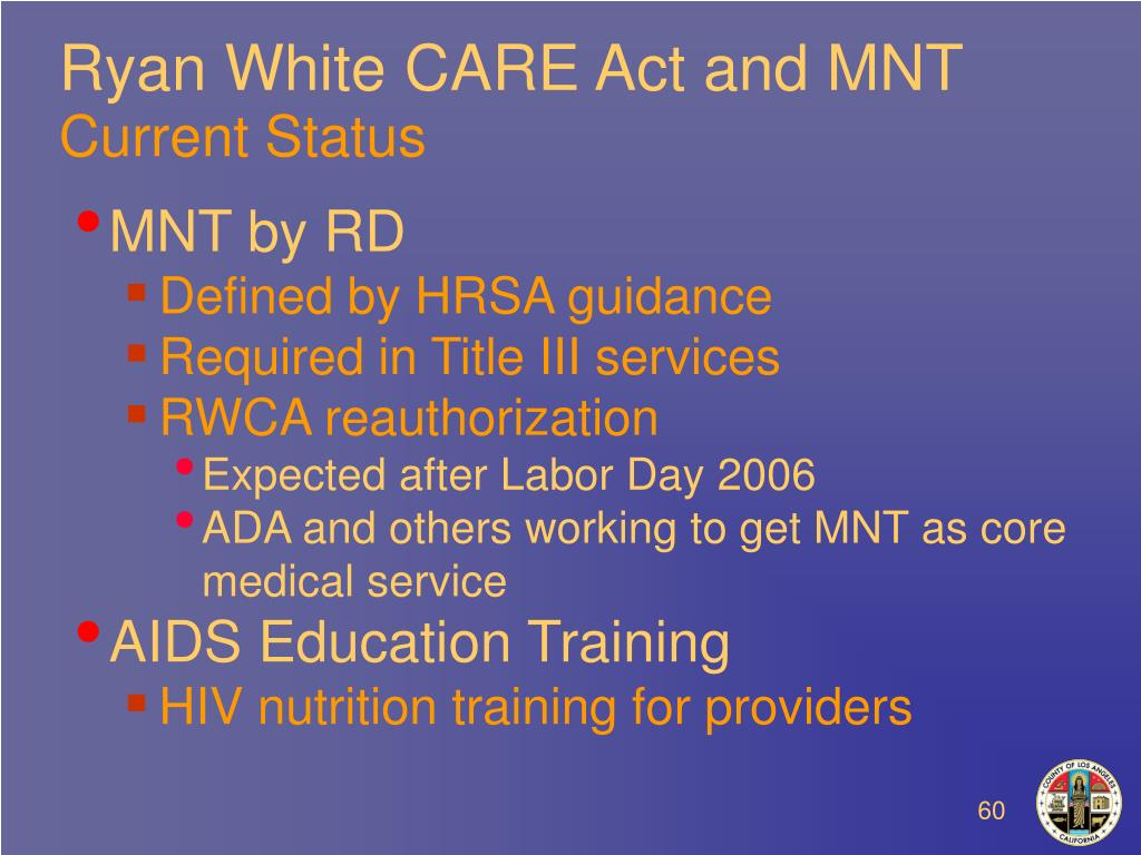 Ryan White CARE Act and MNT