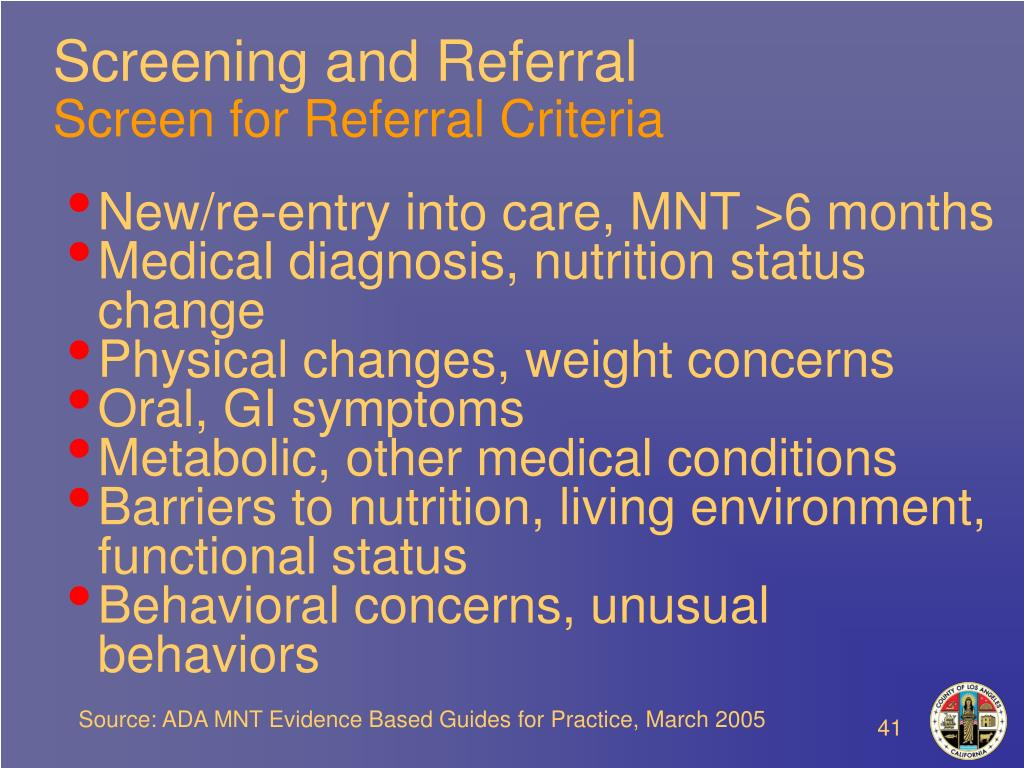 Screening and Referral