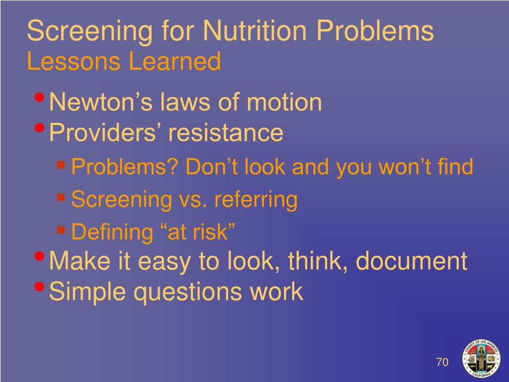 Screening for Nutrition Problems
