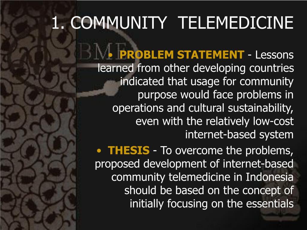 1. COMMUNITY  TELEMEDICINE