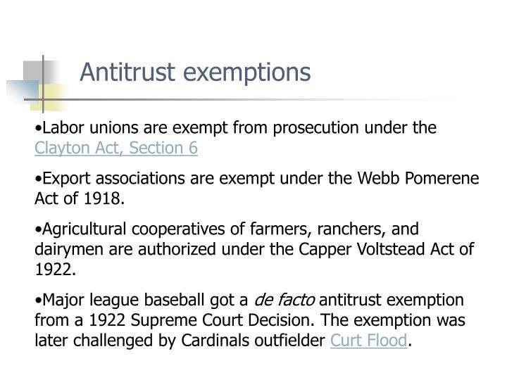 Antitrust exemptions