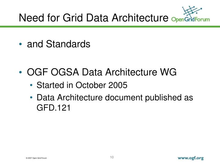 Need for Grid Data Architecture