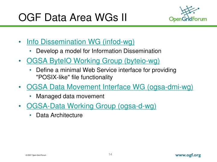 OGF Data Area WGs II