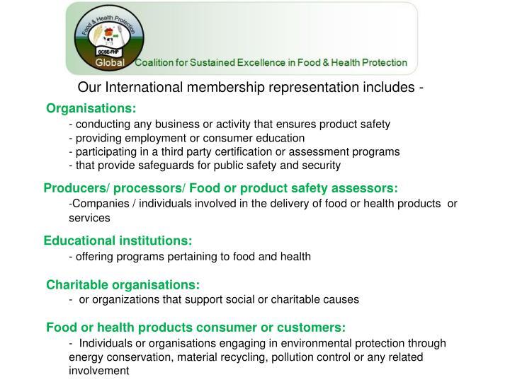 Our International membership representation includes -