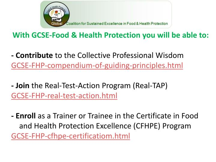 With GCSE-Food & Health Protection you will be able to: