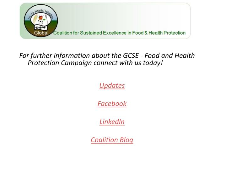 For further information about the GCSE - Food and Health Protection Campaign connect with us today!