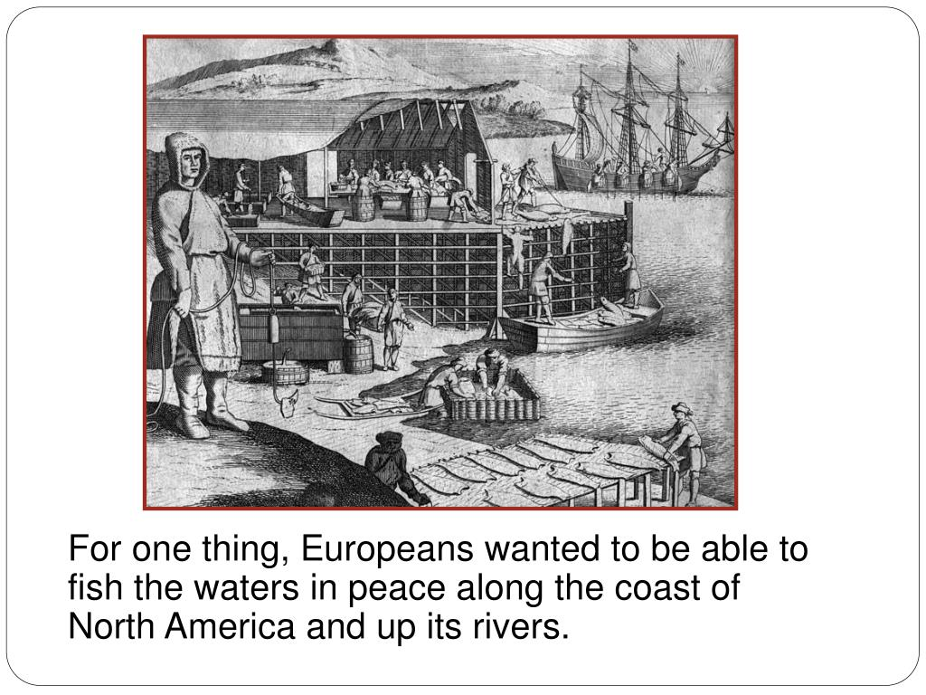 For one thing, Europeans wanted to be able to fish the waters in peace along the coast of North America and up its rivers.