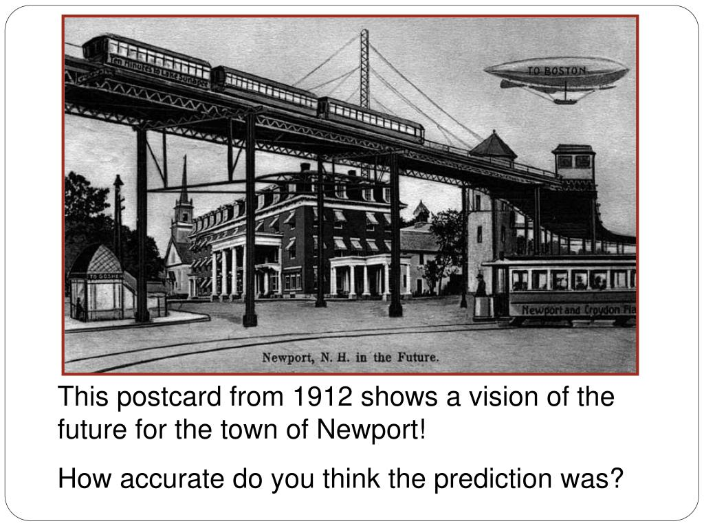 This postcard from 1912 shows a vision of the future for the town of Newport!