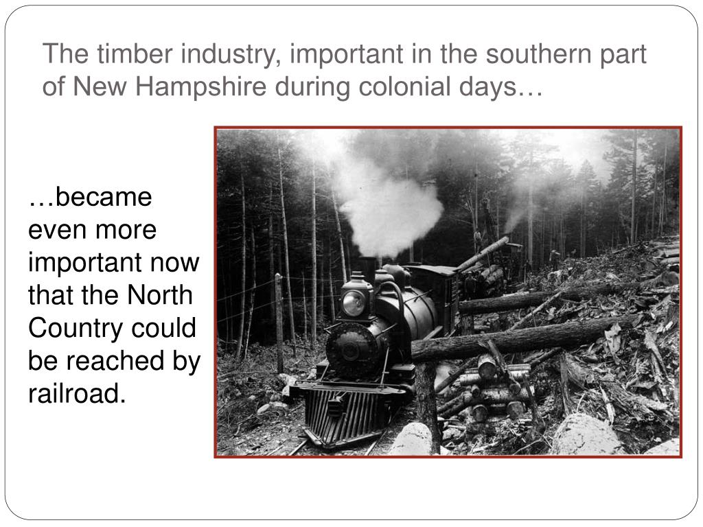 The timber industry, important in the southern part of New Hampshire during colonial days