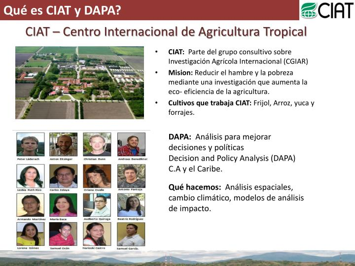Qué es CIAT y DAPA?