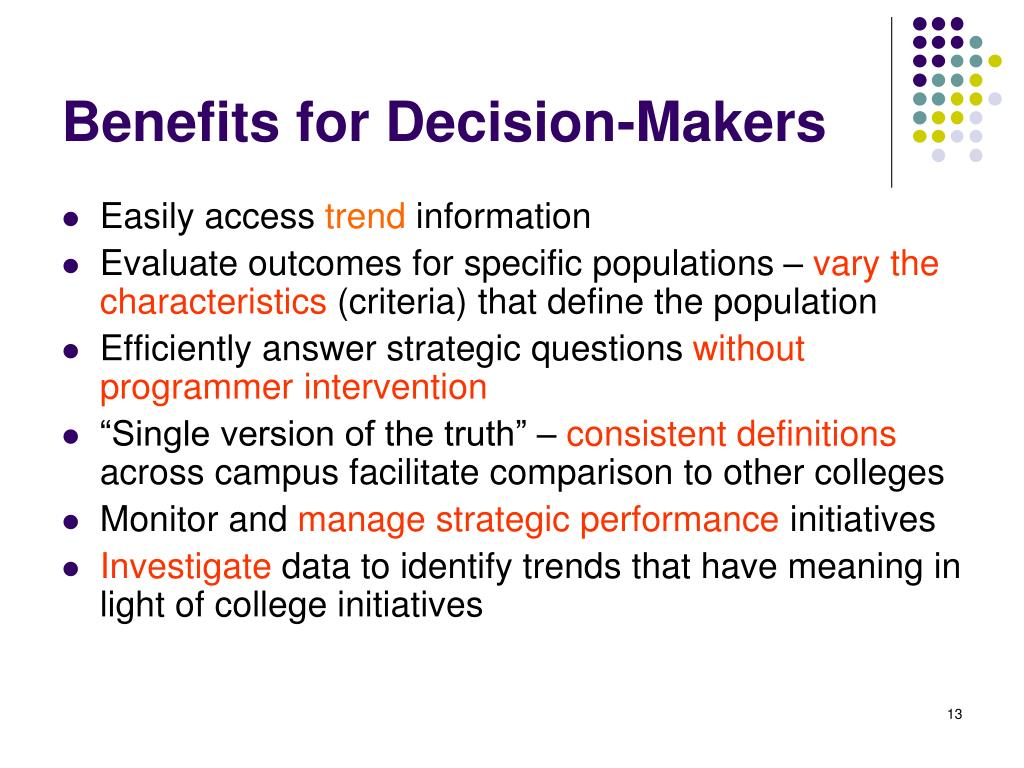 Benefits for Decision-Makers