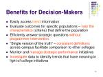 benefits for decision makers