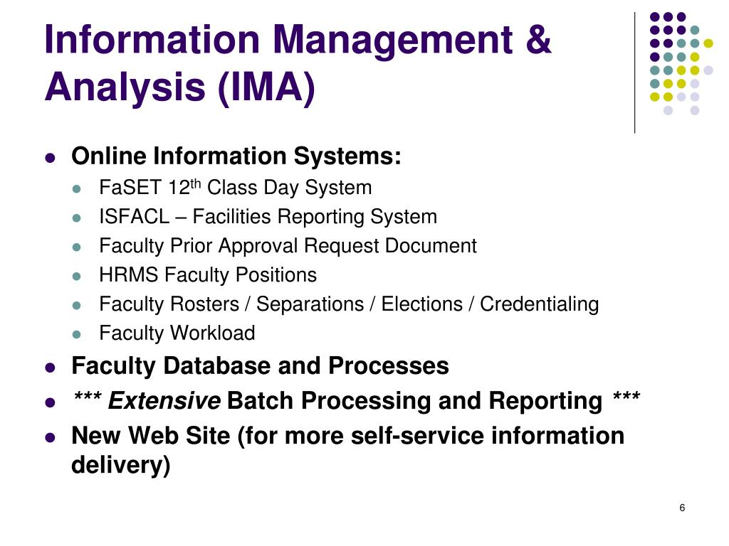 Information Management & Analysis (IMA)