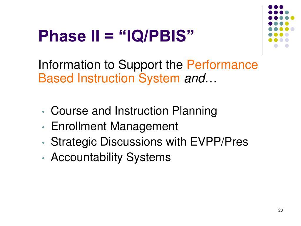 """Phase II = """"IQ/PBIS"""""""