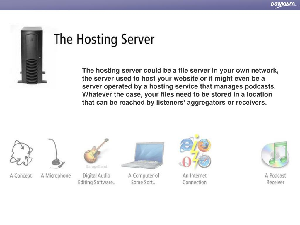 The hosting server could be a file server in your own network, the server used to host your website or it might even be a server operated by a hosting service that manages podcasts.  Whatever the case, your files need to be stored in a location that can be reached by listeners' aggregators or receivers.