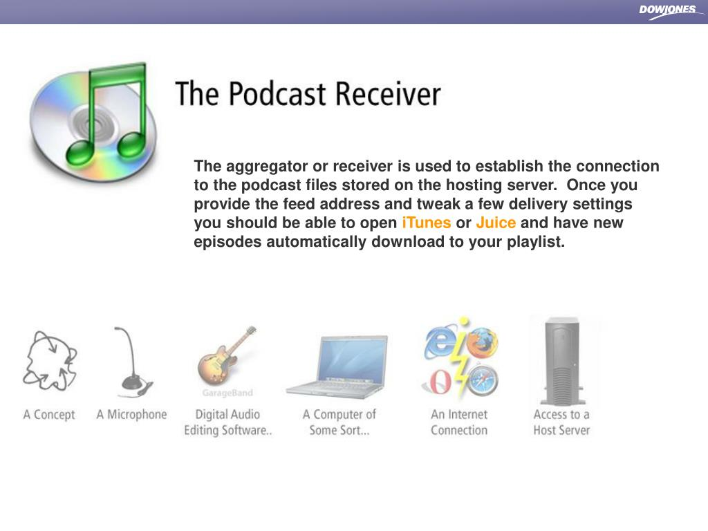 The aggregator or receiver is used to establish the connection to the podcast files stored on the hosting server.  Once you provide the feed address and tweak a few delivery settings you should be able to open
