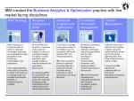 ibm created the business analytics optimization practice with five market facing disciplines